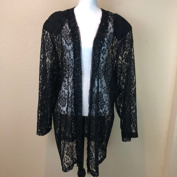 Hossana Designs Tops - Coverup Cardigan Black Lace 4XL Plus Sheer Floral